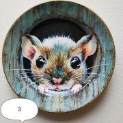 Тарелка новогодняя с символом 2020 мышкой